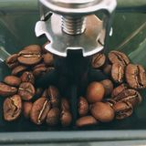 Coffee beans in a grinder from above close Royalty Free Stock Photography