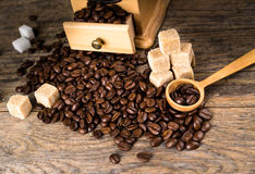 Coffee beans with grinder Stock Photo