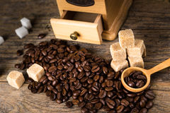 Coffee beans with grinder Royalty Free Stock Image