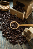 Coffee beans with grinder Royalty Free Stock Photography