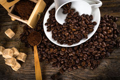 coffee beans with grinder and coffee cup Stock Photo