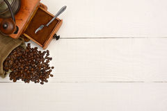 Coffee Beans and Grinder Copy Space Stock Images