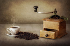 Coffee Beans and Grinder Stock Image