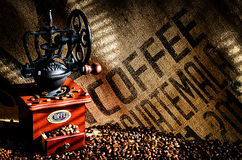 Coffee Beans and Grinder Stock Photography