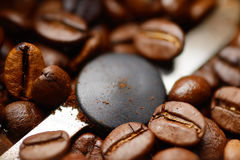 Coffee beans in grinder Royalty Free Stock Photos