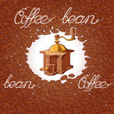 Coffee beans and grinder pattern Stock Photo