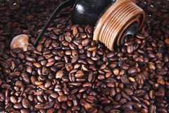 Coffee beans with grinder Stock Photos