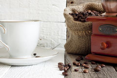 Coffee beans and grinder Royalty Free Stock Image