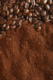 Coffee beans and ground background, warm light royalty free stock images