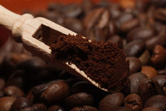 Coffee beans and ground coffee Stock Images