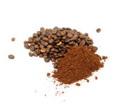 Coffee Beans And Ground Coffee Royalty Free Stock Photography