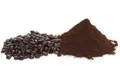 Coffee beans and ground coffee. On a white background Stock Photos