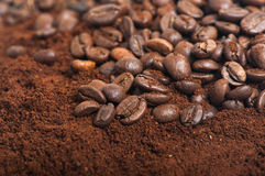 Coffee beans on ground coffee. Coffee beans and ground coffee. Arabica. Perfect for background royalty free stock photos