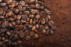 Coffee beans with ground coffee. Coffee beans and ground coffee. Arabica. Perfect for background royalty free stock photos