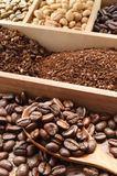 Coffee beans and ground with coffee bean in wooden spoon Stock Photo
