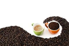 Coffee beans, ground coffee and espresso Stock Photo