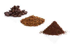 Coffee beans, ground coffee and instant coffee. Royalty Free Stock Images