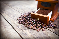 Coffee beans and ground coffee. Stock Images