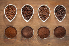 Coffee Beans and Ground Coffee Royalty Free Stock Image