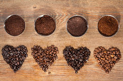 Coffee Beans and Ground Coffee Royalty Free Stock Images
