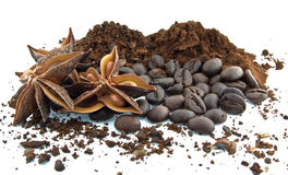Coffee beans, ground coffee and star anise Royalty Free Stock Image