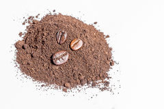Coffee beans and ground coffee Stock Photo