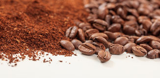 Coffee beans and ground coffee Stock Image
