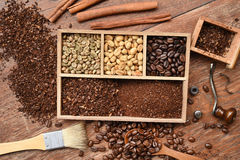 Coffee beans with ground coffee in wooden spoon and cinnamon Stock Images
