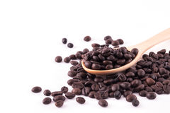 Coffee beans and ground coffee on wooden spoon isolated on white Royalty Free Stock Photography