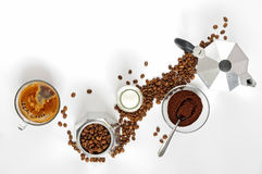 Coffee beans and ground, milk in a bottle, Moka pot Royalty Free Stock Photo