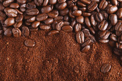 Coffee beans and ground, perfect for background royalty free stock image