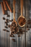 Coffee beans and ground Stock Photos