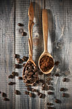Coffee beans and ground Stock Image
