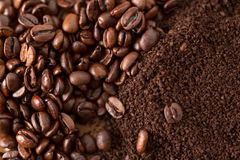 Coffee Beans and Grounds from Above Close Up Stock Images
