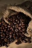 Coffee beans in gunny sack Royalty Free Stock Image