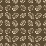 Coffee beans hand drawn sketch seamless vector pattern. For templates, web, design. Invitations, banners. Brown background Royalty Free Stock Photo