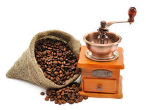 Coffee beans and hand grinder Royalty Free Stock Photo