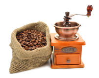 Coffee beans and hand grinder Royalty Free Stock Images