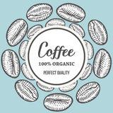Coffee beans Hand hand drawn botany vector banner illustration.. Organic Coffee Decorative doodle of caffeine food. Engraving sketch etch line. Black on Stock Photography