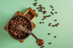 Coffee beans in a hand-held coffee grinder on a tender green bac Royalty Free Stock Photography