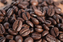 Coffee beans. A handful of royalty free stock photo