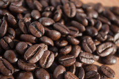 Coffee beans. A handful of royalty free stock image