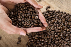 Coffee beans in hands Royalty Free Stock Photography