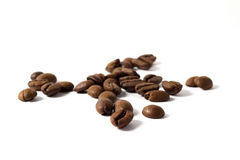 Coffee beans. Heap of coffee beans isolated on white Royalty Free Stock Photos