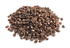 Coffee beans heap. Isolated on white background Stock Images