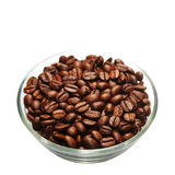 Coffee beans heap in transparent glass bowl, isolated on white Royalty Free Stock Images