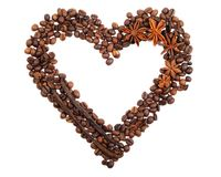 Coffee beans heart. Heart from coffee beans , on  a white background Stock Photography