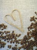 Coffee beans and heart Stock Image