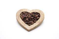 Coffee beans in the heart Royalty Free Stock Photos