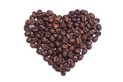Coffee beans heart. On white background Royalty Free Stock Photos